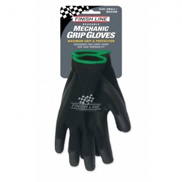 Finish Line Mechanic Grip Gloves MechanikerHandschuhe Gr S M  Black Schwarz