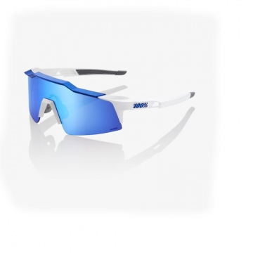 100 Speedcraft SL Sonnenbrille Matte white Metallic Blue  HiPER Blue Multilayer Mirror Lens  small