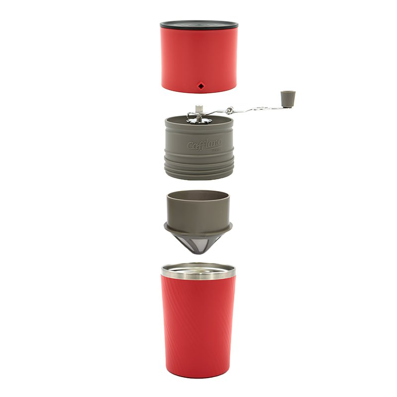 Cafflano Klassic Reise-Kaffeemaschine (Cold Brew) Red Pour Over Coffee Maker inkl. Mahlwerk!
